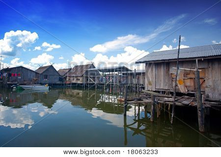 Wooden homes in a water's village near Tuaran, Sabah Malaysia.
