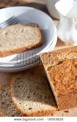 Freshly baked banana bread