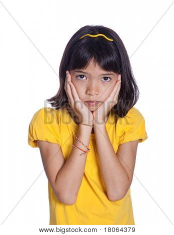 Sad young girl feeling worried