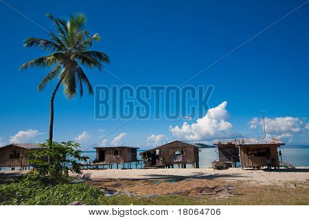 Humble homes of the stateless sea bajau tribes on the east coast of Sabah, Borneo.
