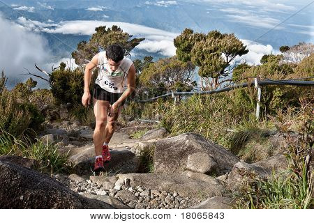 MT KINABALU, SABAH - OCT 25: Winner of the men's event, Kilian Jornet Burgada from Spain climbing up Mt Kinabalu in the International Climbathon held on October 25, 2009 in Mt Kinabalu, Malaysia.