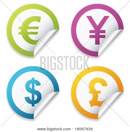 Currency stickers sign. Vector