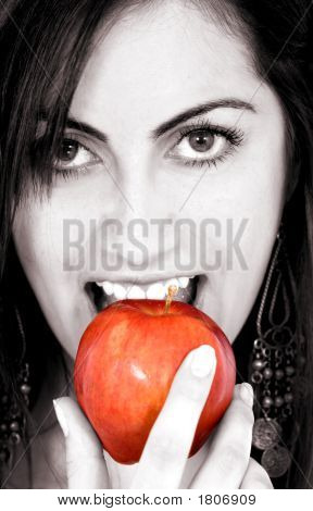 Fashion Girl Eating Apple