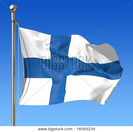 Flag of Finland against blue sky. 3d illustration.