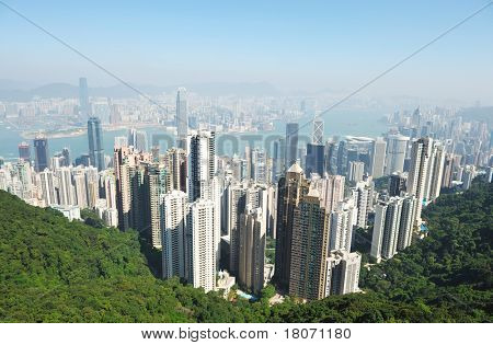 Hong Kong cityscape. No brand names or copyright objects.