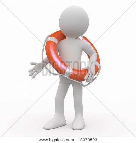 Man with an orange life preserver