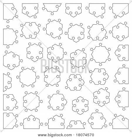 Set of 36 hexagonal puzzle pieces