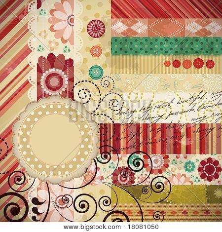 Scrap background made in the classic patchwork technique with floral stamps and handwriting text.