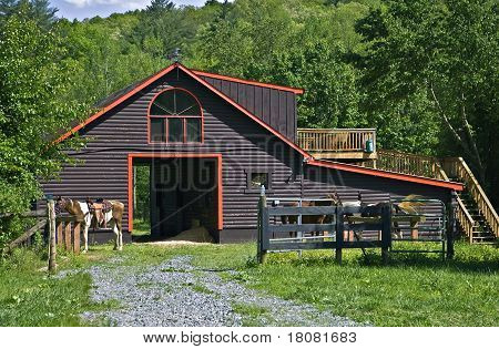 Pretty Log Barn And Horses