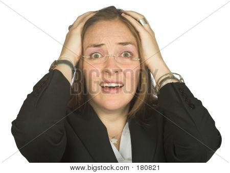 Picture or Photo of Business woman with her face in shock