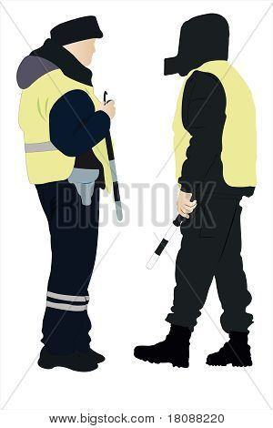 Policeman And Security Officer