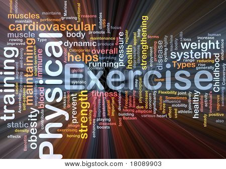Background concept word cloud illustration of physical exercise glowing light