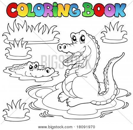 Coloring book with two crocodiles - vector illustration.