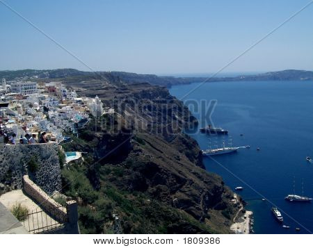 View Of The Island Of Santorini From Fira