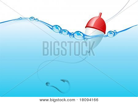 My popular image now VECTOR! Float, fishing line and hook underwater. Conceptual background to put your object, logo or text, realize any design idea.