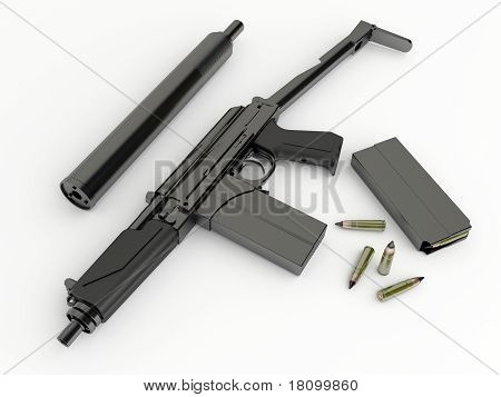 Compact submachine-gun 9a91 with silenced