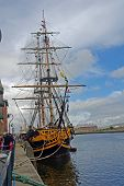 image of yardarm  - Star of Hornblower and Longitude this Turkish built tall ship operates as a representative of Lord Nelson - JPG