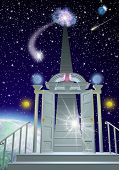 image of life after death  - Floating high above a planet a doorway and arch lead to stairs going up to swirling light in space with starry sky - JPG