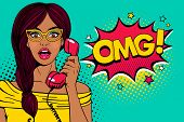 Wow Pop Art Female Face. Sexy Surprised Young Woman In Glasses With Open Mouth Holding Old Phone Han poster
