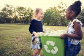Little Kids Separating Recycle Can to Trash Bin poster