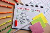 Set of stationery on table. Marketing concept poster