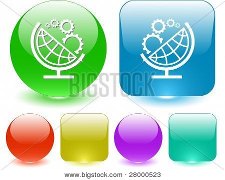 Globe and gears. Vector interface element.