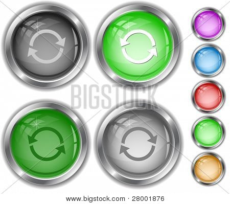 Recycle symbol. Raster internet buttons. Vector version is in portfolio.