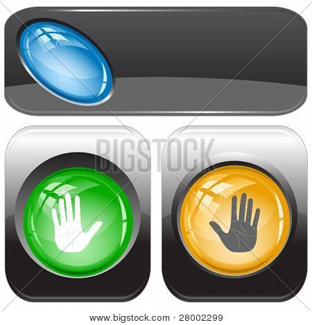 Stop hand. Internet buttons. Raster illustration. Vector version is in my portfolio.