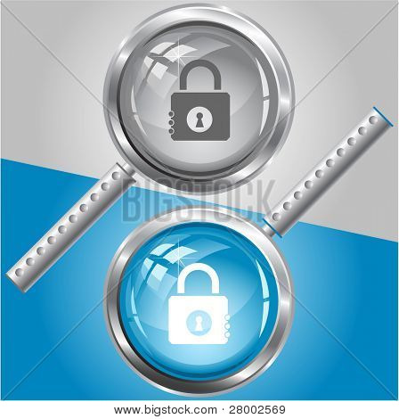 Closed lock. Raster magnifying glass. Vector version is in my portfolio.