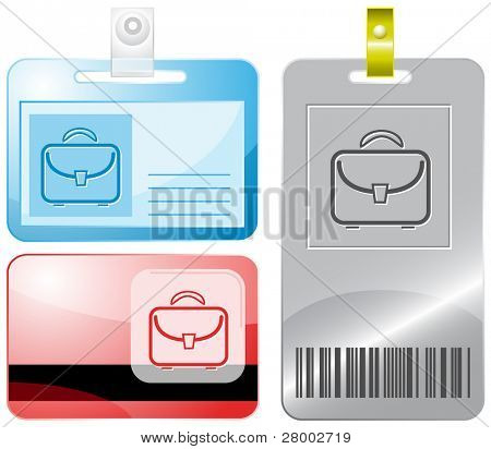 Briefcase. Id cards. Raster illustration.