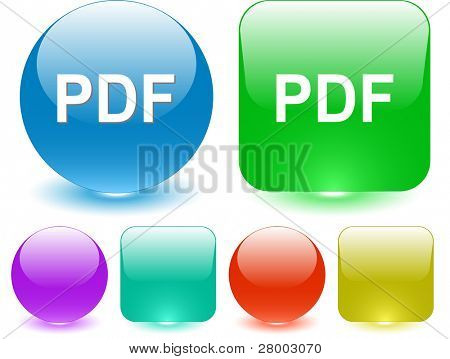 Pdf. Interface element. Raster illustration.