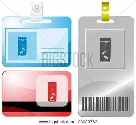Glass with tablets. Id cards. Raster illustration.