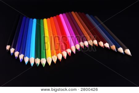 Color Pencils Wave Isolated On Black