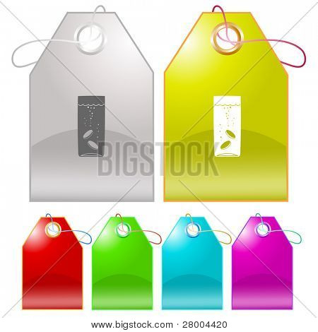 Glass with tablets. Raster tags. Vector version is in my portfolio.