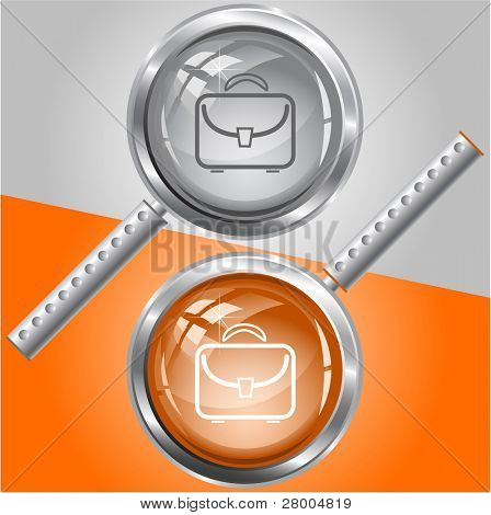 Briefcase. Raster magnifying glass. Vector version is in my portfolio.