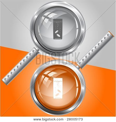 Glass with tablets. Raster magnifying glass. Vector version is in my portfolio.