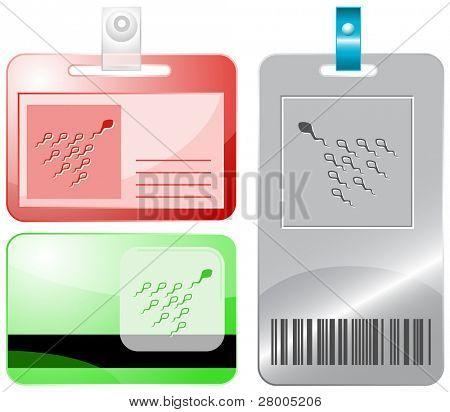 Espermatozoide. Tarjetas de identificación. Ilustración de la trama.