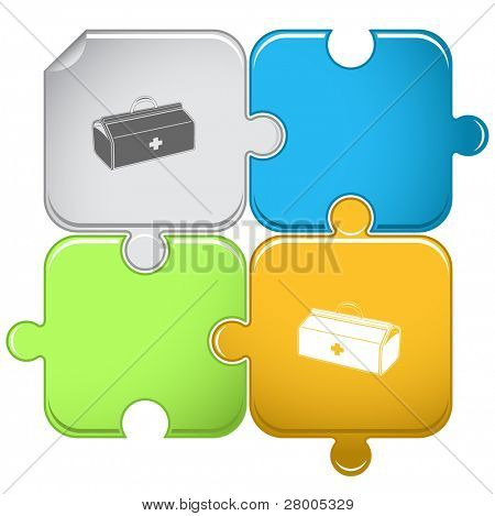 Medical suitcase. Raster puzzle. Vector version is in portfolio.