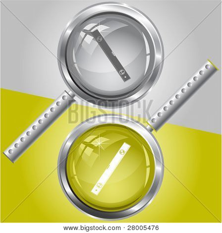 Spirit level. Raster magnifying glass. Vector version is in my portfolio.