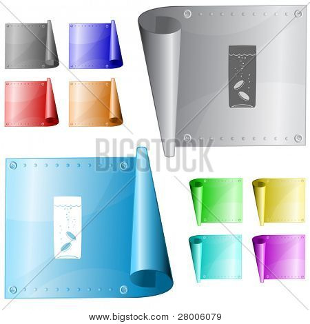 Glass with tablets. Metal surface. Raster illustration. Vector version is in my portfolio.
