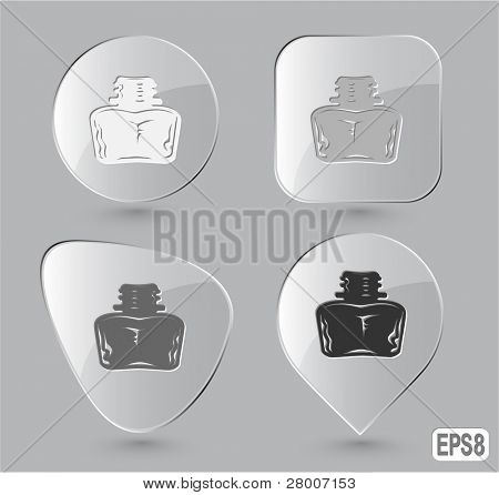Inkstand. Glass buttons. Vector illustration.