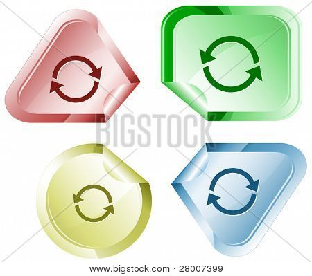 Recycle symbol. Stickers. Raster illustration. Vector version is in my portfolio.
