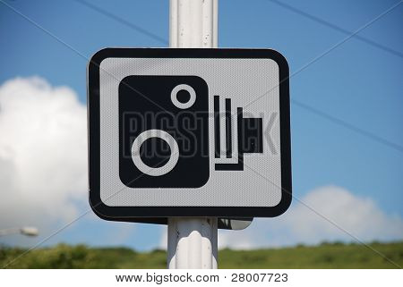 Speed camera sign in Folkestone in Kent, England