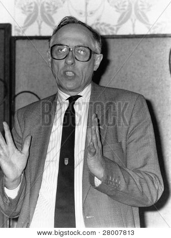 BLACKPOOL, ENGLAND-SEPTEMBER 4: Donald Dewar, Labour party member of Parliament for Garscaddon, speaks at the Trades Union Congress on September 4, 1989 in Blackpool, Lancashire.