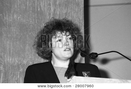 LONDON-FEBRUARY 19: Pamela Taylor, Head of Public Affairs at the British Medical Association (BMA), speaks at a press conference on February 19, 1992 in London.