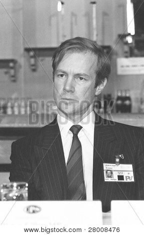 BLACKPOOL, ENGLAND - OCTOBER 10: Peter Lilley, Secretary of State for Trade and Industry, attends the Conservative party conference on October 10, 1989 in Blackpool, Lancashire.