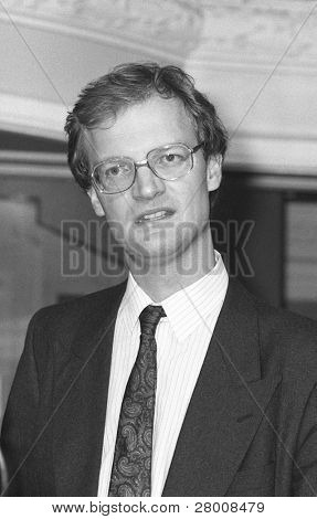BLACKPOOL, ENGLAND - OCTOBER 10: David Willetts, Director of  Studies at the Centre for Policy Studies, speaks at the Conservative party conference on October 10, 1989 in Blackpool, Lancashire.