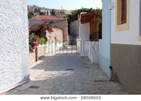 A narrow street in Emborio on the Greek island of Halki.