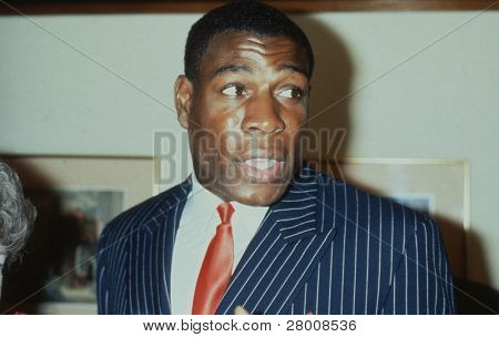LONDON - MAY 27: Frank Bruno, British heavyweight boxer, attends a celebrity event on May 27, 1989 in London. In 1995 he became WBC world heavyweight champion.