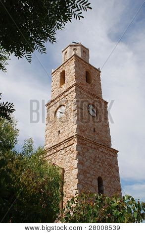 The clock tower at Emborio on the Greek island of Halki.